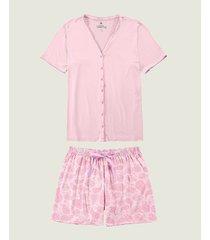 pijama plus size paisley com cetim malwee liberta rosa claro - g2