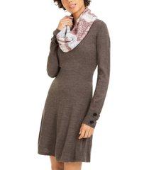 bcx juniors' striped scarf & sweater dress