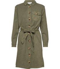 dhalto shirtdress jurk knielengte groen denim hunter