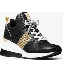 mk sneaker georgie in pelle a righe con logo goffrato - nero/oro (oro) - michael kors