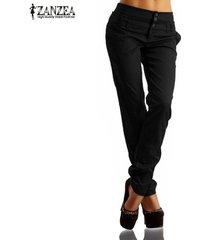 zanzea nueva llegada botones zipper sólido pantalones largos pantalones de las mujeres de otoño de cintura alta pantalones delgados ocasionales del tamaño capris plus negro -negro