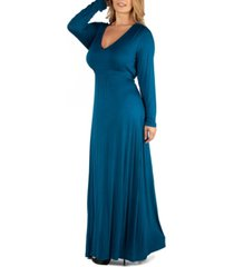 24seven comfort apparel semi formal long sleeve plus size maxi dress