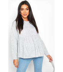 maternity smock sweat top, light grey