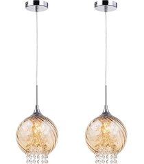 02 lustres, vidro lamp show metal e cristal ambar única