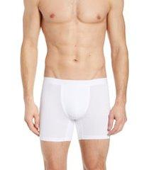 men's hanro stretch cotton essentials long-leg boxer briefs, size large - white