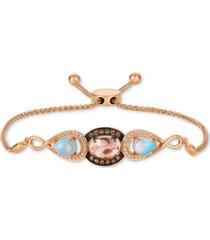 le vian multi-gemstone (1-3/8 ct. t.w.) & diamond (1/3 ct. t.w.) bolo bracelet in 14k rose gold