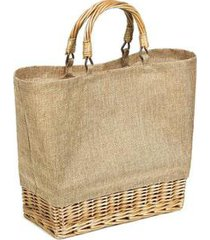 bolsa sacola de vime com pvc impermeável imitando linho feminina