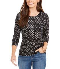 charter club dot-print pima cotton top, created for macy's