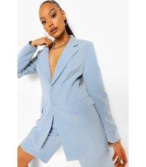 oversized long line blazer, dusty blue