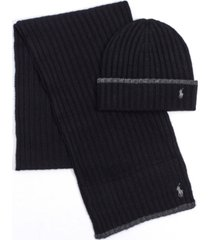 polo ralph lauren men's classic ribbed hat and scarf set