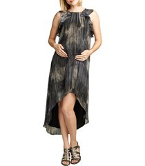 women's maternal america ruffle chiffon high/low maternity dress, size large - metallic