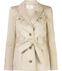 ba & sh tie waist blazer jacket - brown