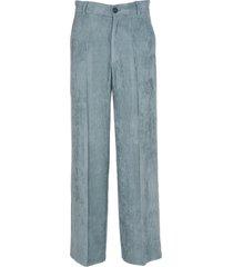 forte forte light blue velvet trousers