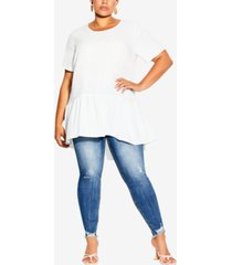 city chic trendy plus size breezy frill top