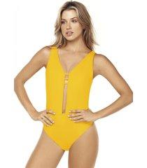 traje de baño escote amarillo lisantino
