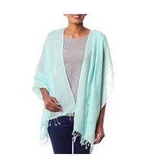 wool shawl, 'sea green dream' (india)