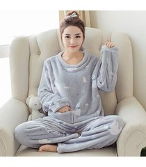 women pajamas set sleep flannel pant sleepwear warm nightgown winter suit clothe