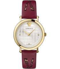 women's versace virtus texture dial leather strap watch, 37mm