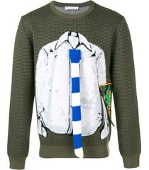 jw anderson trompe l'oeil shirt and tie sweater - green