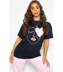 linear gezicht graphic t-shirt, marineblauw