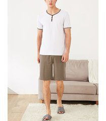 conjunto de pijama para hombres top de manga corta pantalones cortos casuales traje de casa