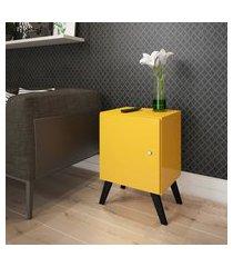 mesa cabeceira amarelo porta estilo retrô lilies móveis