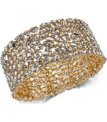 inc wide crystal cluster stretch bracelet, created for macy's