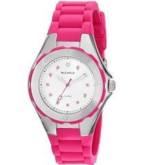new womens michele (mww12p000002) jelly bean topaz pink silver watch