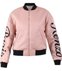 kenzo embroidered logo satin bomber jacket