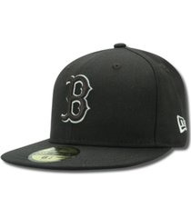 new era kids' boston red sox mlb black and white fashion 59fifty cap