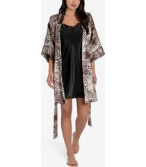 linea donatella 2-pc. charmeuse printed wrap robe & solid chemise nightgown set