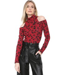 blusa forum off-shoulder onça vermelho/preto