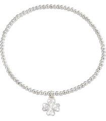bracciale quadrifoglio in metallo e cristalli in stile boho chic per donna
