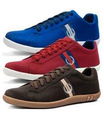 kit 3 pares de sapatênis casual dhl masculino azul, vermelho e marrom