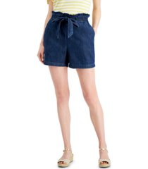 charter club petite tie-front denim shorts, created for macy's