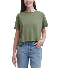 calvin klein jeans cropped boxy-fit cotton t-shirt