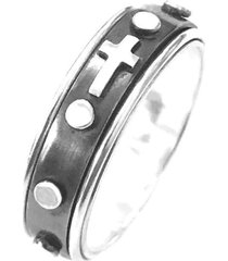 anel prata mil terço de prata giratório prata