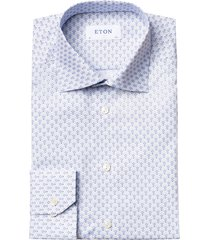 men's big & tall eton contemporary fit print dress shirt, size 18.5 - blue