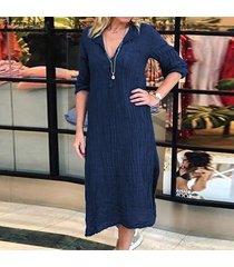 zanzea summer womens button cuello en v camisa de manga larga vestido damas vestidos a media pierna tallas grandes -azul marino