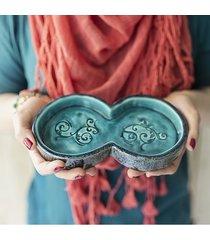 świecznik ceramiczny na dwie świece turkusowy