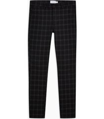 mens black and white check stretch skinny pants