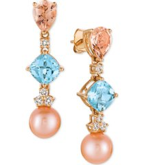 le vian multi-gemstone (3-3/4 ct. t.w.), cultured freshwater pearl (9mm) and diamond (1/3 ct. t.w.) drop earrings in 14k rose gold