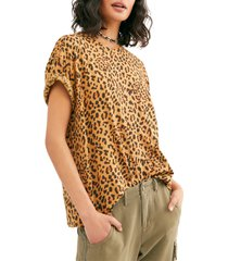 women's free people clarity cotton blend tee, size small - brown