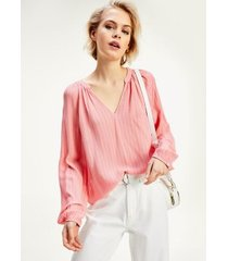 tommy hilfiger women's stripe popover blouse washed watermelon pink - 14