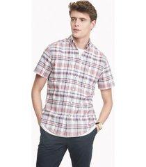 tommy hilfiger men's custom fit essential plaid shirt white/red/navy - l