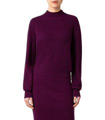 akris punto cashmere & wool zip sweater, size 16 in purple at nordstrom