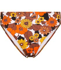 dodo bar or morgan floral print high-waisted bikini bottoms - brown