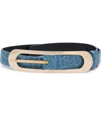 oscar de la renta cornflower buckle belt - blue