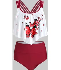 butterfly print scrunch butt flounce strappy tankini swimsuit