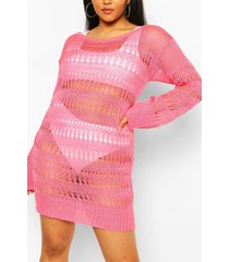 plus knitted pointelle beach dress, coral